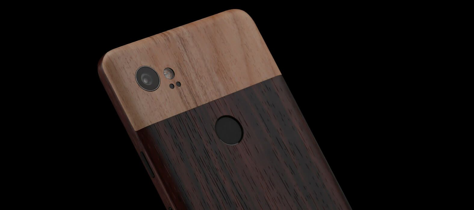 Pixel 2 XL Skins Ebony Wood Split Wraps & Decals