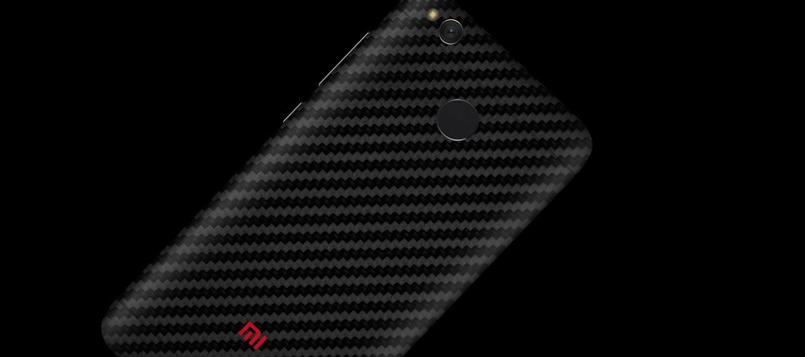 Black carbon Redmi 4 (4x) skins, wraps & decals