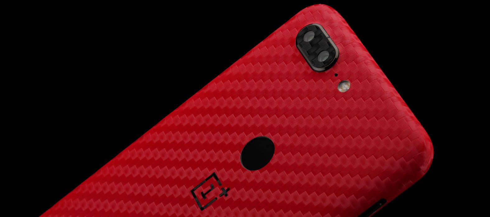 OnePlus 5T Skins, Decals, Wraps - Red Carbon fiber