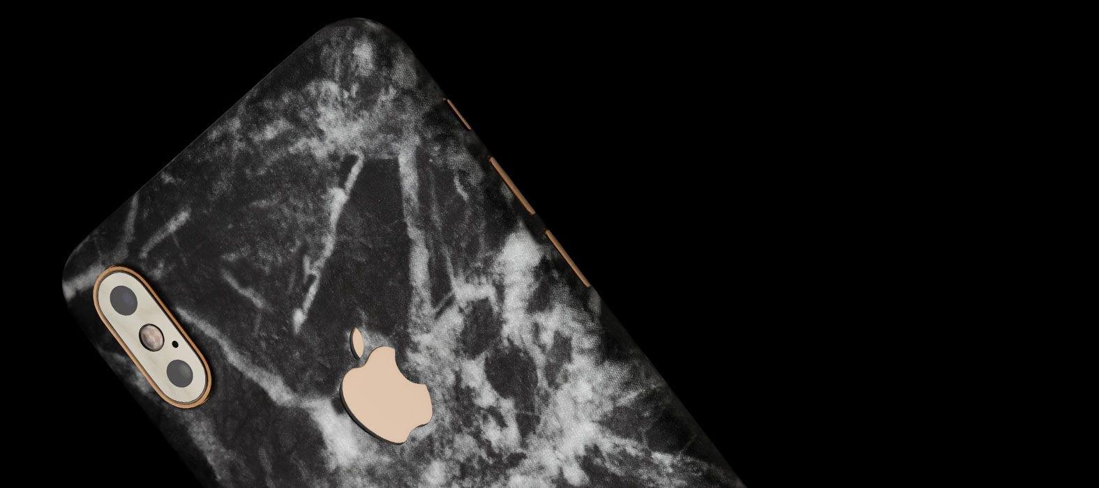 iPhone XS Black Marble Skins
