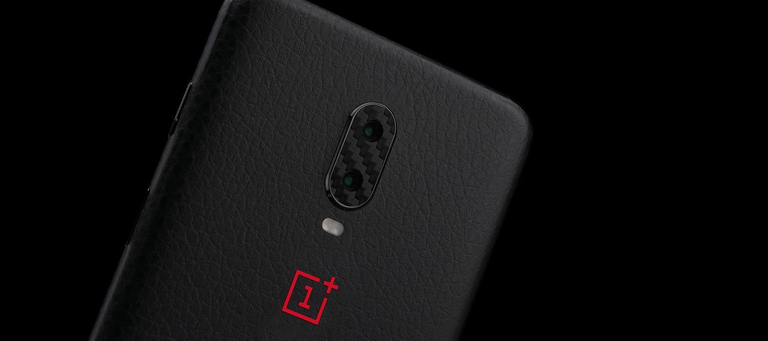 OnePlus 6T Black Leather Skins