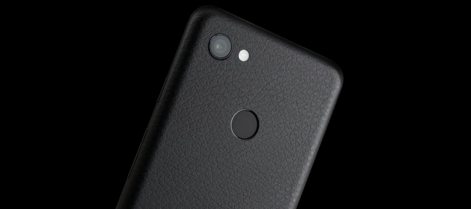 Pixel 3a Black Leather Skins