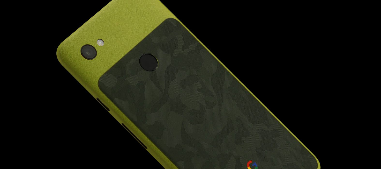 Pixel-3A_Neon-Sandstone-with-Green-Camo_Skins