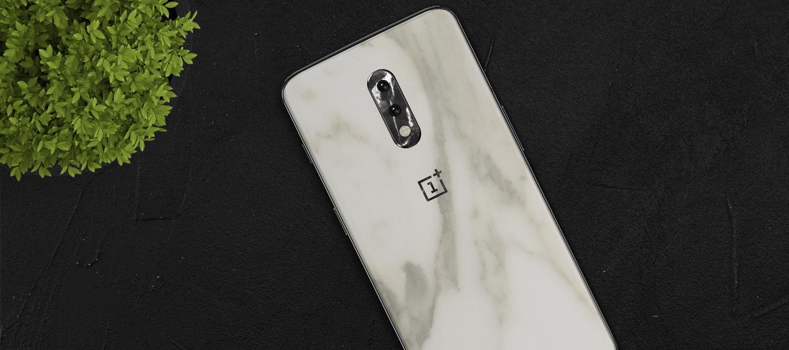 OnePlus 7 White Marble Skins